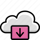 cloud, colour, down, functions icon