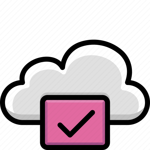 approved, cloud, colour, functions icon