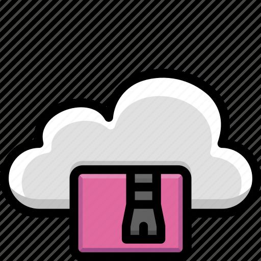 cloud, colour, functions, zip icon