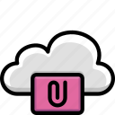 attachment, clip, cloud, colour, functions icon