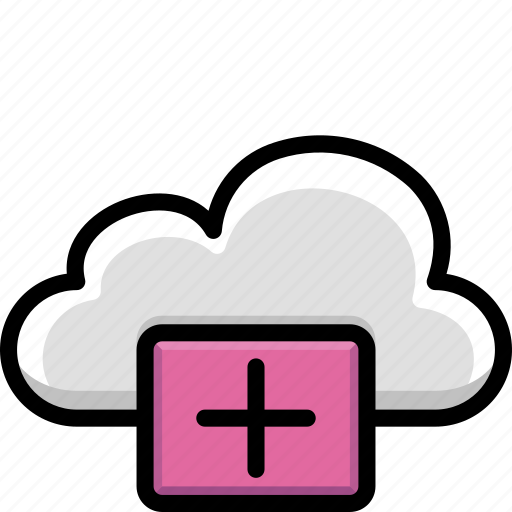 add, cloud, colour, functions, plus icon