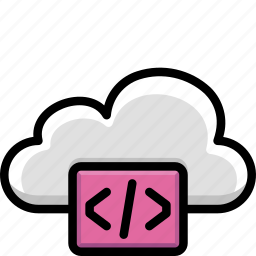 cloud, code, colour, functions, html icon