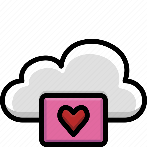 cloud, colour, functions, heart, love icon