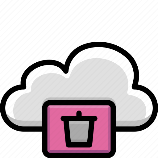 bin, cloud, colour, functions, recycle, trash icon