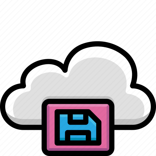 cloud, colour, functions, save icon