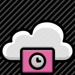 cloud, colour, functions, please, wait icon