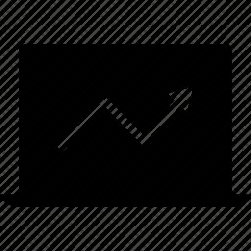 arrow, information, laptop, up icon