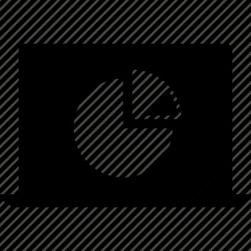 chart, information, laptop, pie icon