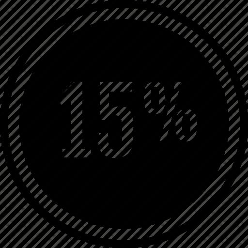 fifteen, percent, rate, revenue icon