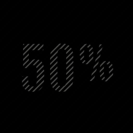 fifty, half, off, percent icon
