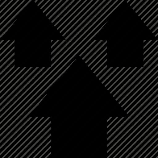 arrows, three, up icon