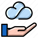cloud, connection, data, internet, network, user icon