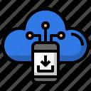 smartphone, cloud, computing, data, download, storage