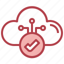 checkmark, verified, cloud, computing, storage