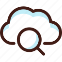 cloud, data, find, host, search, server, sync icon