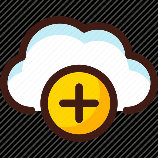 add, cloud, data, host, plus, server, sync icon