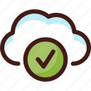 check, cloud, data, host, ok, server, sync icon