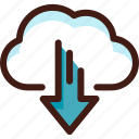 arrow, cloud, data, download, host, server, sync icon