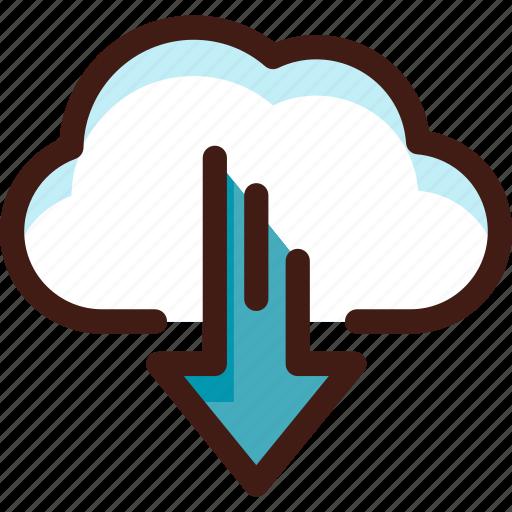 arrow, cloud, data, download, host, server, sync icon