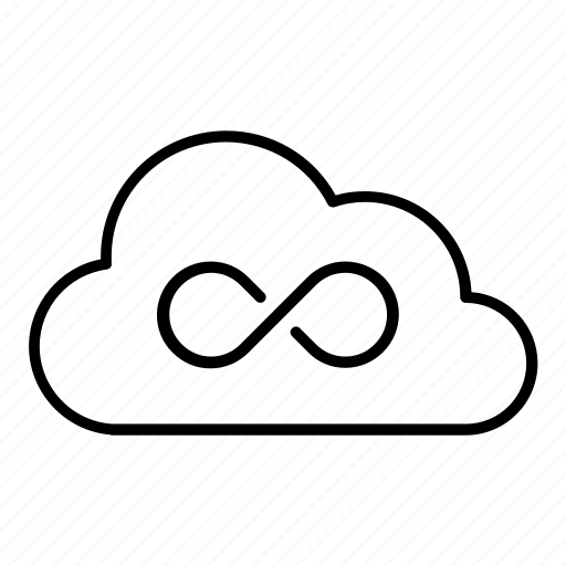 cloud, infinite, storage, unlimited, ∞ icon