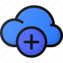 add, cloud, network, storage, data