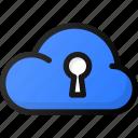 cloud, lock, network, storage, data