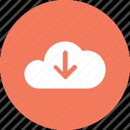 big, cloud, data, database, download, online, storage icon