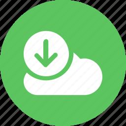 big, cloud, data, database, download1, online, storage icon