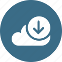 big, cloud, data, database, download2, online, storage icon