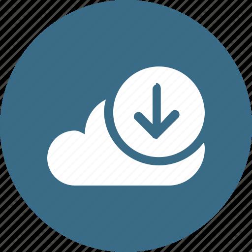 big, cloud, data, database, download2, online, storage icon