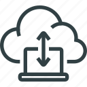 arrow, cloud, computer, data, laptop, storage, sync icon