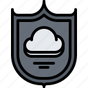 antivirus, cloud, protection, repository, shield, storage, technology icon