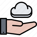 cloud, hand, repository, storage, support, tech, technology icon
