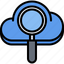 cloud, magnifier, repository, search, storage, technology icon