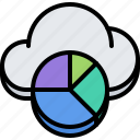 chart, cloud, pie, repository, statistics, storage, technology icon