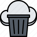 can, cloud, garbage, repository, storage, technology, trash icon