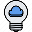 3, bulb, cloud, idea, light, repository, storage, technology icon