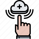 click, cloud, hand, repository, service, storage, technology icon