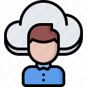 cloud, man, repository, storage, technology, user icon
