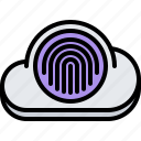 cloud, fingerprint, lock, password, repository, storage, technology icon