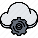 cloud, gear, optimization, repository, settings, storage, technology icon