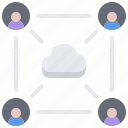 cloud, network, repository, sharing, storage, technology, user icon