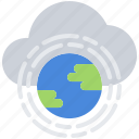 cloud, earth, global, planet, repository, storage, technology icon