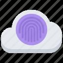 cloud, fingerprint, lock, password, repository, storage, technology icon
