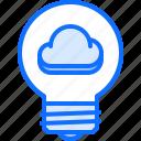 3, bulb, cloud, idea, light, repository, storage, technology icon