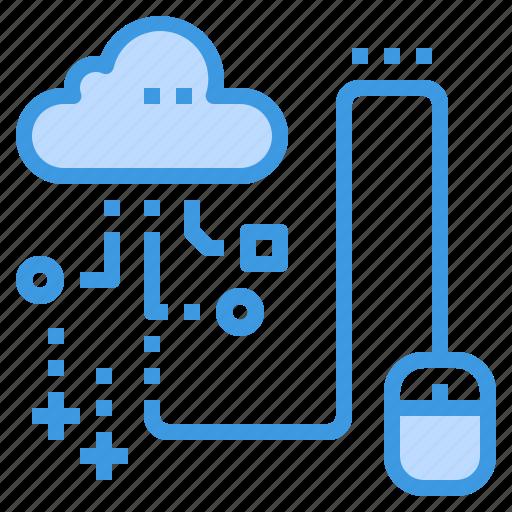 click, cloud, database, server, storage, technology icon