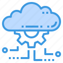 cloud, database, gear, server, setting, storage, technology icon