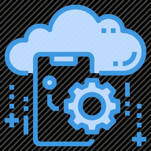 cloud, database, mobile, server, setting, storage, technology icon