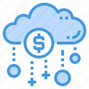 cloud, database, money, payment, server, storage, technology icon