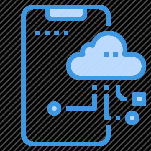 cloud, database, server, smartphone, storage, technology icon